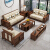 E木E家旗艦店ニューアジアンの無垢材ソファというグループの小型客間には、軽豪華家具123胡桃の木の置物ソファーがあります。