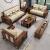 三生小筑ニュエルアジアンヌ无垢材ソファセットの大きさの戸型リビングルームには、金丝檀家具123木制ソファ1+2+3ソファー【断固としてゴム木を作らない】の组み合わせがあります。